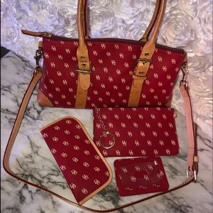Red and Tan Dooney & Bourke 4 pc set